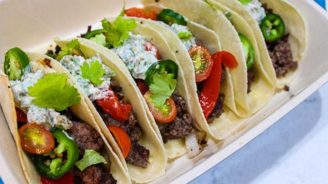 Chipotle Tacos with Cilantro Sour Cream