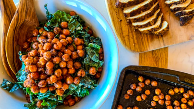 Kale Salad with Kickin' Chicken and Crispy Chickpeas