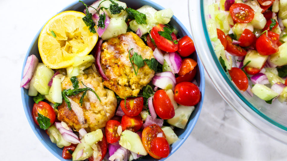 Homemade Cauliflower Falafel with Israeli Salad