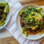 Shredded Pork Tostadas with Pineapple Cilantro Salsa