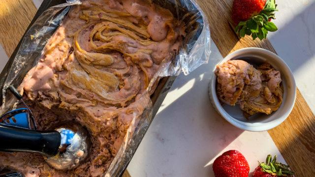 Honey Roasted Peanut Butter & Strawberry Ice Cream