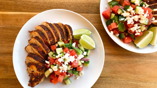 Watermelon & Feta Salad with Kickin' Chicken