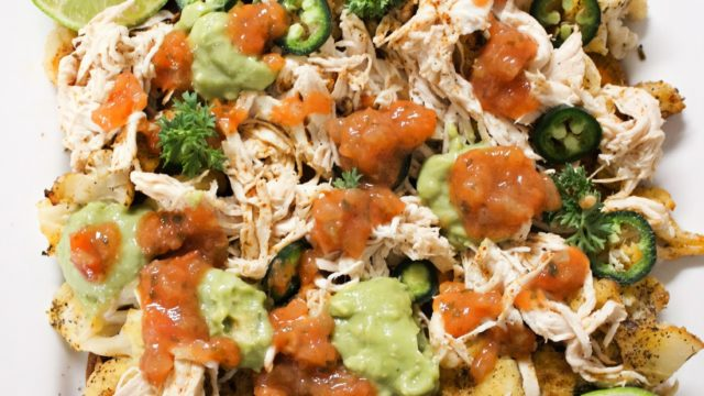 Cauliflower and Sweet Potato Nachos with Pulled Chicken