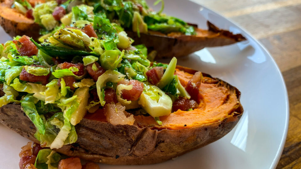 Shredded Brussels Sprouts, Chicken and Pancetta Stuffed Sweet Potato