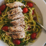 "Pesto Chicken ""Pasta"" with Burst Cherry Tomatoes"