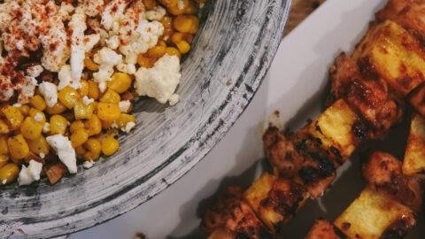 BBQ Chicken Kabobs with Corn, Feta and Walnut Salad