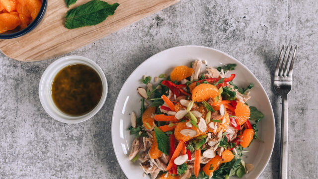 Asian Style Arugula Salad with Chicken and Mandarin Oranges