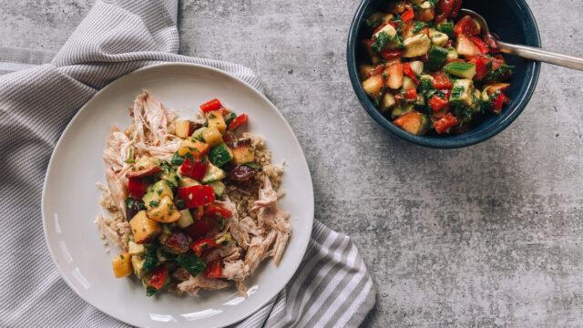 Avocado-Peach Chicken and Quinoa Bowl