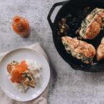 Creamy Spinach and Artichoke Stuffed Chicken Breast with Tomato Shallot Sauce